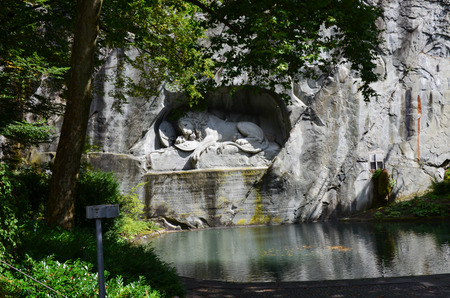 standoff: The Lion monument, or Lion of Lucerne in Lucerne Switzerland. Stock Photo