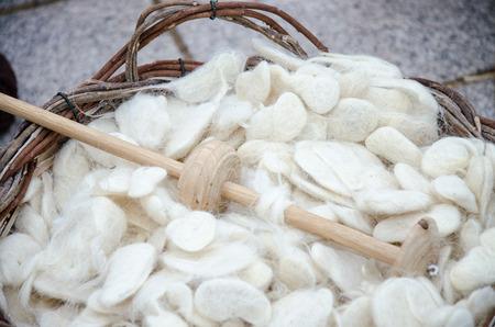 wool: Old wool spindle and virgin wool
