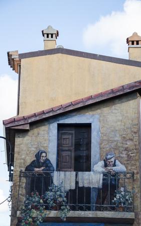 murals: Wall painting murals in Fonni, Sardinia, Italy