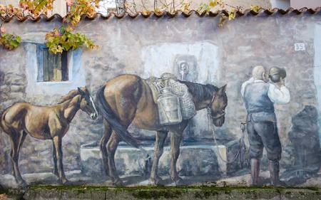 Wall painting murals in Fonni, Sardinia, Italy
