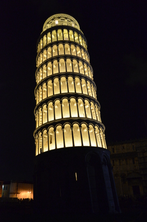 The Tower of Pisa illuminated