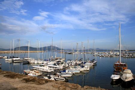 Sailing yachts in Alghero Marina, Sardinia, Italy