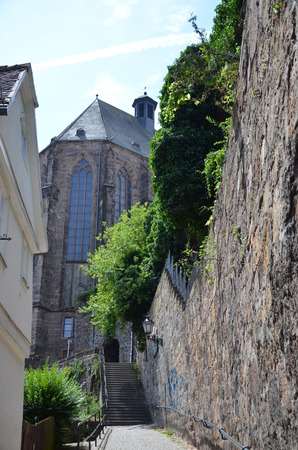 Historic streets of the old quarters of Marburg