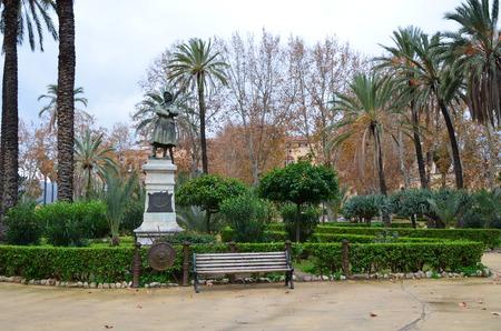 Statues in Villa Bonanno public garden in Palermo 스톡 콘텐츠