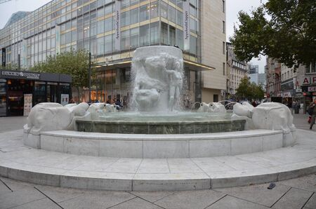 Frankfurt am main city center, at big square with a fountain