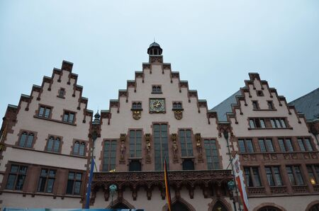 Historical Romer Square in the city of Frankfurt Main, Germany