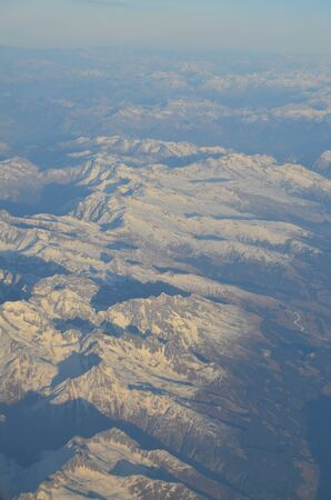 Mountain view from an airplane window