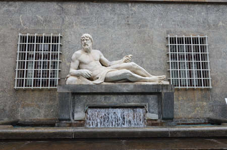 Po and Dora Fountains. Represented by a man and a woman lying on the foundations from which water flows, Turin