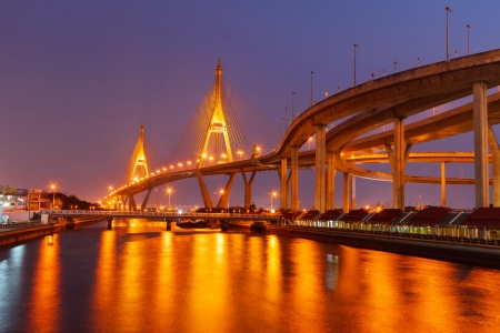 Bhumibol Bridge night photo