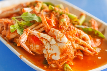 crab in red curry paste photo