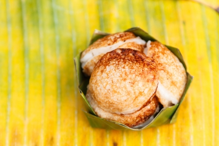 emulsifier: khanom khrok or called thai sweetmeat  is  pancake that is made from rice flour with coconut milk or just plain shredded coconut as an emulsifier
