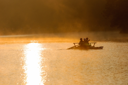 catchment: sunset with shadow of people and catchment mae hong son thailand Stock Photo