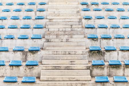 grandstand: escalera corredor arena tribuna con silla azul