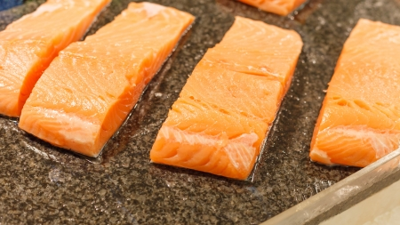 salmon inside super market  photo