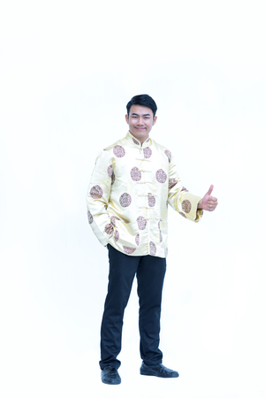 China men,Asian man wear dress chinese style cheongsam and face smile with happy show symbol like hand Stock Photo
