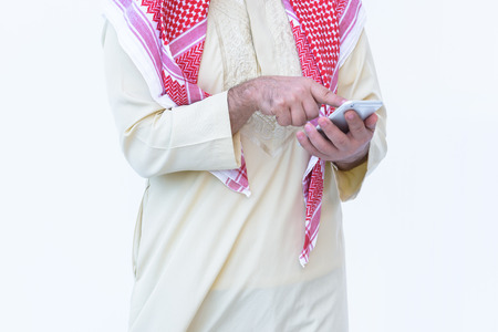 beautiful modern muslim business  young man portrait hand holding mobile phone  on white background