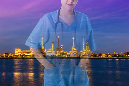 concept healthy medical work background oil refinery