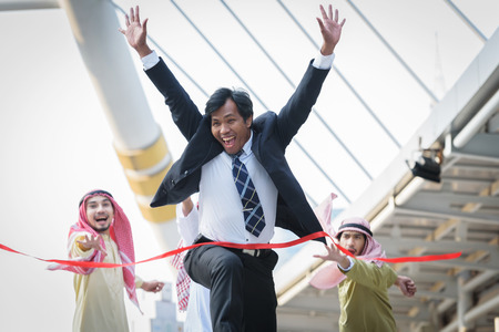 businessman winning competitors arab officeman crosses the finish line, concept  finish achieving accomplishment