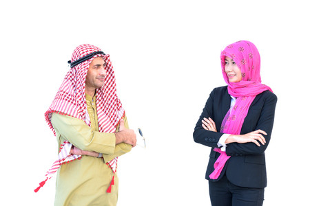 beautiful modern muslim business woman and young man portrait on white background Stock Photo