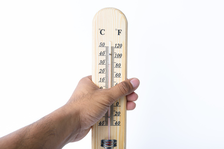 termometer: on hand wood Thermometer with white backgrond Stock Photo