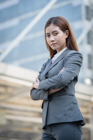 headcloth: beautiful business woman in area office building