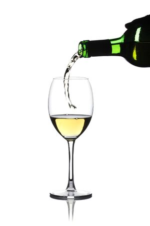 aligote: Glass of white wine on a white background and with soft shadow