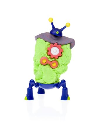 Cute little plasticine robots isolated on white background Stock Photo - 8180219