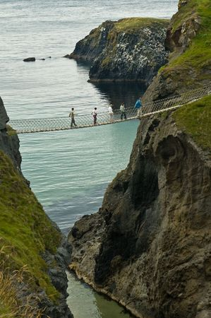 Rope Bridge at Carrik a Rede being crossed by a  photo