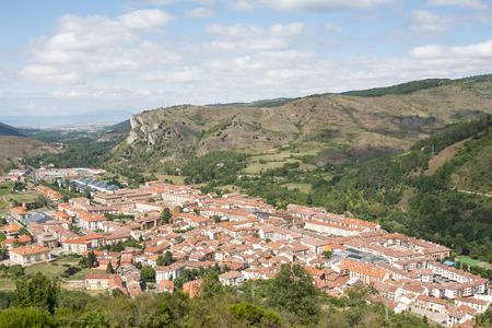 rioja: View of Ezcaray village in Rioja, Spain. Stock Photo