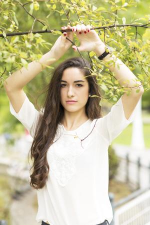 brunete: Portrait of beautiful brunette woman, outdoor.