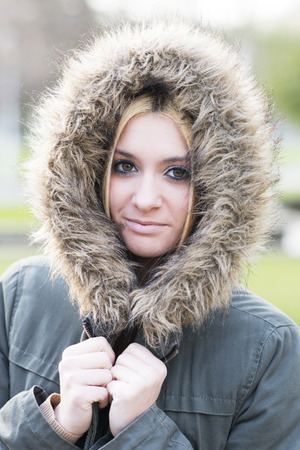 cold season: Portrait of beautiful young woman winter lifestyle. Stock Photo