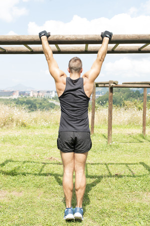 outdoor sport: Man exercise sport, outdoor. Stock Photo