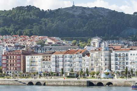 cantabria: Facades in Castro Urdiales, Cantabria, Spain.