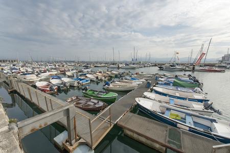 cantabria: Santander, Cantabria, Spain-25 october 2015: Harbor with pleasure boats in Santander.