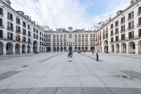 cantabria: Santander, Cantabria, Spain-25 october 2015: arcaded square in Santander.
