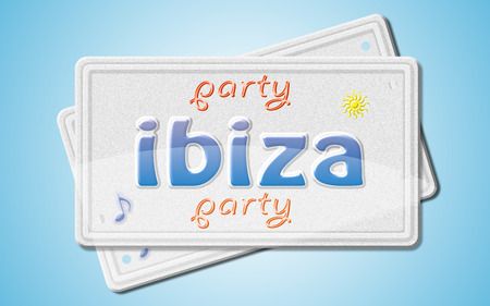 license plate: Ibiza party, license plate. Stock Photo
