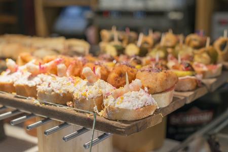spanish tapas: Spanish tapas, Basque cuisine. Stock Photo