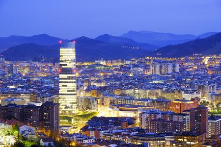 Bilbao city at night, North Spain.