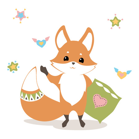 baby fox waving good bye, with pillow, hearts and stars, flat graphics