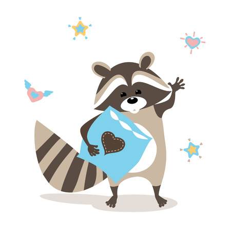 baby raccoon waving goodbye, standing with pillow, hearts and stars