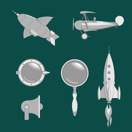 steampunk web elements set, flat graphics with airship, airplane, rocket, lens, porthole and megaphone