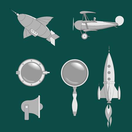 Steampunk-Webelemente-Set, flache Grafiken mit Luftschiff, Flugzeug, Rakete, Linse, Bullauge und Megaphon