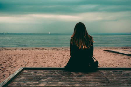 Back View Young Beautiful Slender Girl Sitting Alone Beach Nature Concept