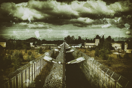 barbed wire fence: Abandoned Prison Jail Ruin Forgotten Imprisonment Freedom Concept
