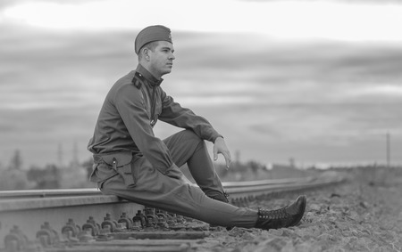 Young Soviet Soldier USSR Border Railway World War 2 Reconstruction Concept