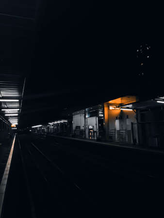 The train station in Jakarta, Indonesia at dark evenings, the station is empty of passengers who have returned home after getting off the train