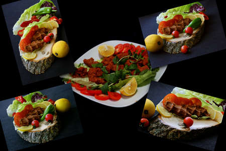 Lettuce, tomato and raw meatballs