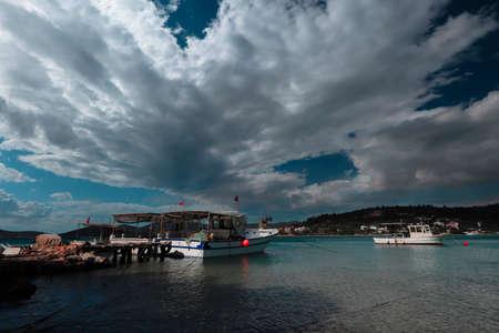 (Kıyıkıslacık -Milas -Turkey) In the village of Zeytinli Kuyu By the sea, boats in the sea