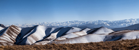dagestan: The Caucasus mountain range, photo taken from the top of the Gimrinskogo mountain range. Dagestan 2015. The highest point, the peak. in the background is seen the main Caucasian ridge. Panorama