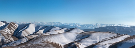 dagestan: The Caucasus mountain range, photo taken from the top of the Gimrinskogo mountain range. Dagestan 2015. The highest point, the peak. Panorama